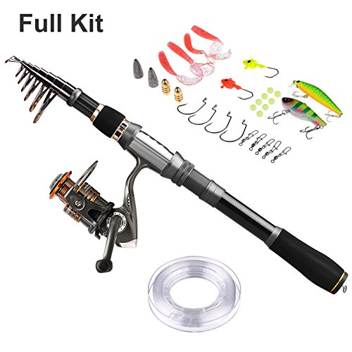 Plusinno spinning fishing pole rod and reel combo with for Fishing starter kit
